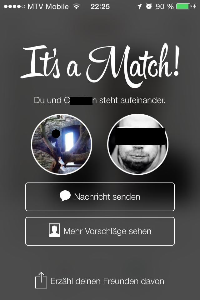 Der Traum, das Ziel, ja die Erfüllung eines jeden Tinder-Nutzers: das Match!