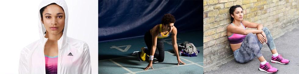 3 photos of gb sprinter Jodie Williams