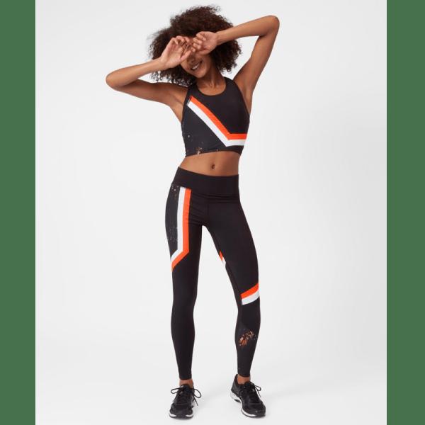 Sweaty Betty Zero Gravity Run Leggings - Black White Orange - Front View