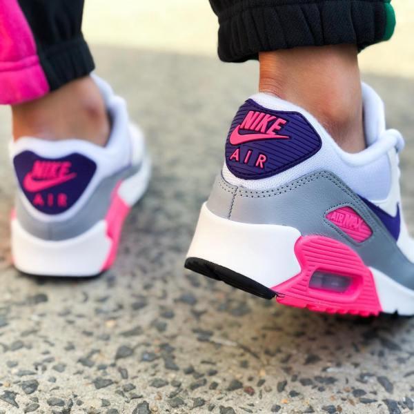 Nike Air Max 90 - White, Purple, Wolf Grey & Laser Pink
