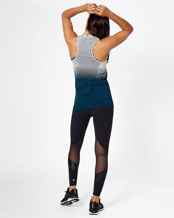 Sweaty Betty - Athlete Seamless Workout Vest - Blue - Size Small - back