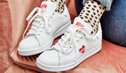 adidas Stan Smith Red Heart Valentine's Day Shoes - socks