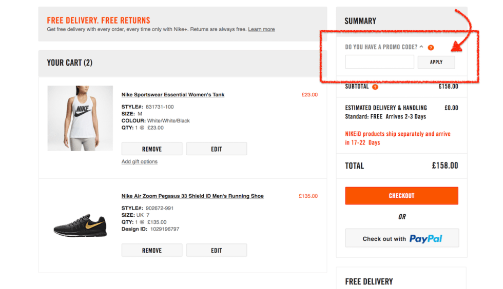 how to use a Nike voucher code