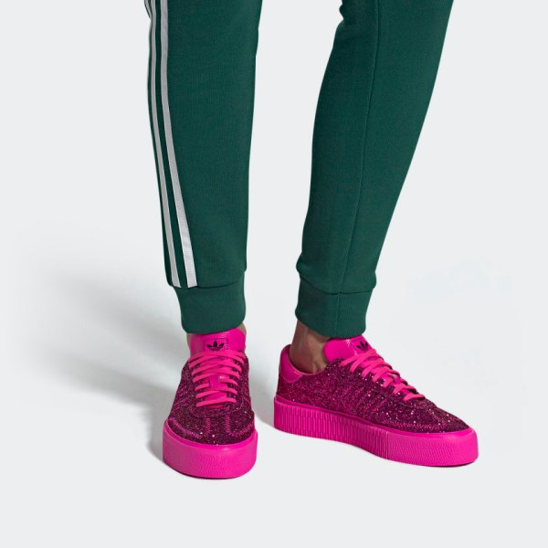adidas Originals Sambarose Shoes - Pink Glitter - on feet