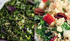 Easy Healthy Quinoa Salad Recipes.Green Quinoa Salad with Basil Dressing.Green Beans Almond Quinoa Salad. Green Goddess Black Quinoa Salad. Quinoa Salad with Asparagus, Peas, Avocados & Lemon Basil Dressing. Pear-Quinoa Salad