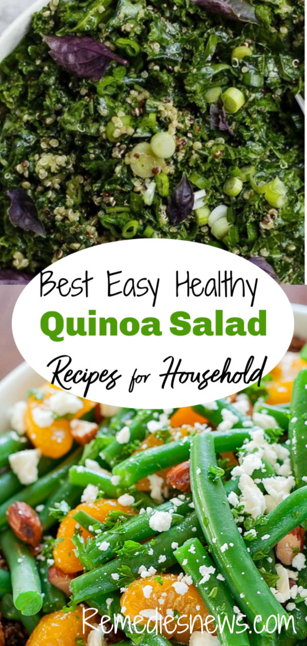 Easy Healthy Quinoa Salad Recipes.Green Quinoa Salad with Basil Dressing.Green Beans  Almond Quinoa Salad. Green Goddess Black Quinoa Salad. Quinoa Salad with Asparagus, Peas, Avocados & Lemon Basil Dressing. Pear-Quinoa Salad