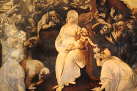 Partial view of The Adoration of the Maji by Leonardo da Vinci, photographed by Kelly Bixby