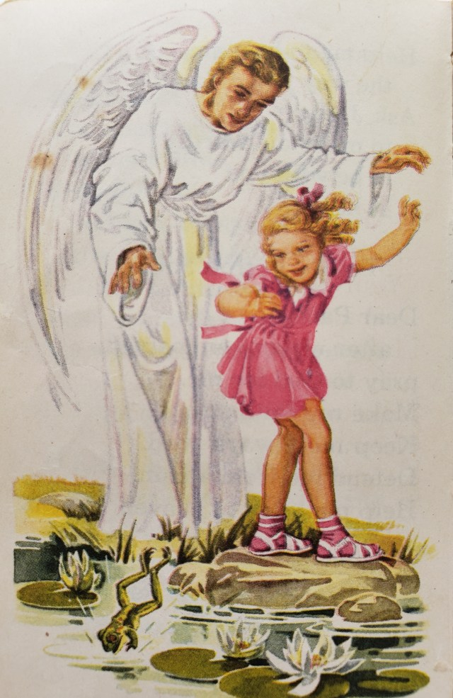 Illustration by Charlotte Ware of a guardian angel protecting a young girl as she plays.