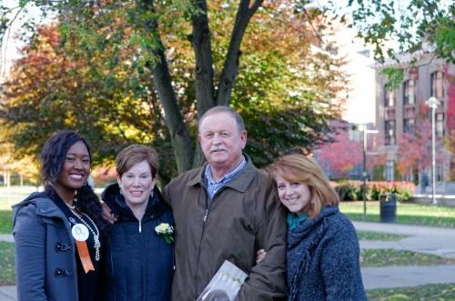 Remembrance Week, 2015. From left to right: Cheyenne Cheathem, 2015 Remembrance Scholar representing Karen Lee hunt; Peggy Hunt; Robert Hunt; Lauren Henry, Karen's 1st year roommate.