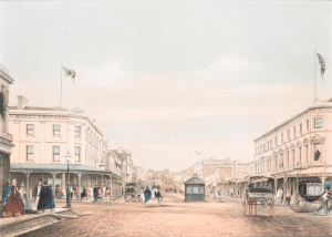 View of Bourke Street, at the corner of Bourke and Swanston Streets, Melbourne, including Bignell's New Hotel to left, and horse-drawn vehicles.