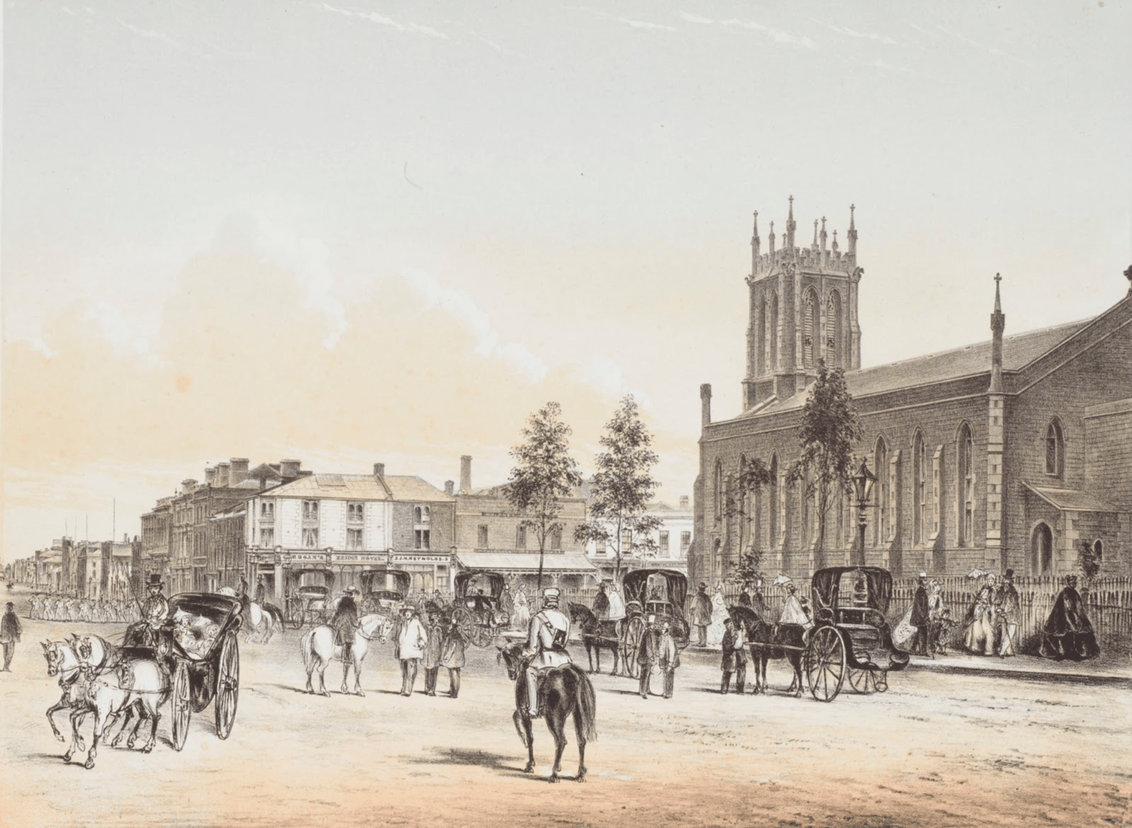 Shows streetscape of Flinders Street, looking west, with Bridge Hotel (now known as Young and Jackson's Hotel) on far corner, St. Paul's Cathedral on opposite corner, horsedrawn vehicles and pedestrians.