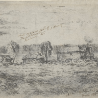 Shows collection of small huts with bay in background, sailing craft on water, ink notations at top L-R: Huts of [illeg.] -- Schooner Enterprise belonging to Fawkner.