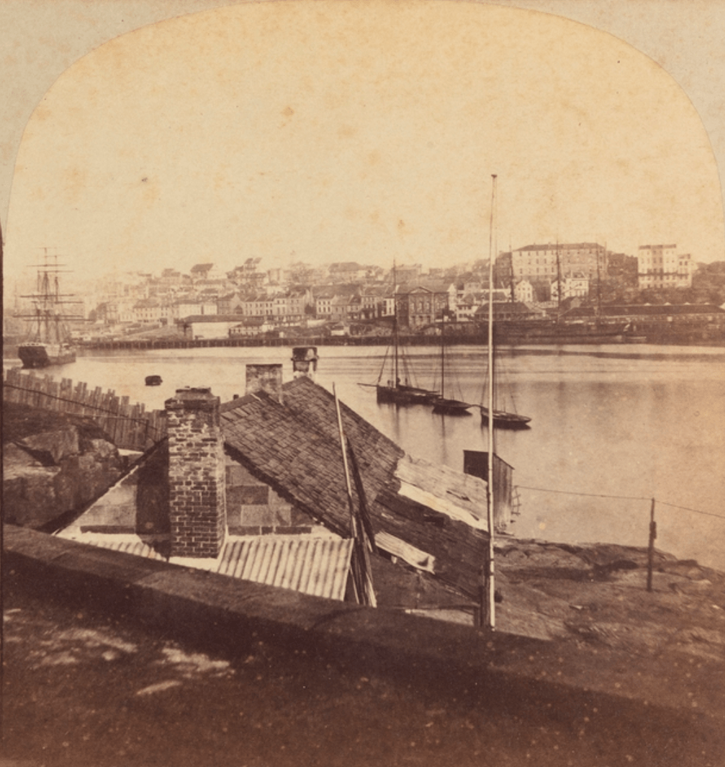 Looking south-west across Sydney Cove to The Rocks, with Mariners Church, north George Street, in centre