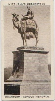 Mitchell's Cigarette Card depicting the Gordon Monument in Khartoum, from the author's private collection.