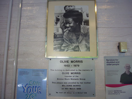 Plaque and pic at Olive Morris House