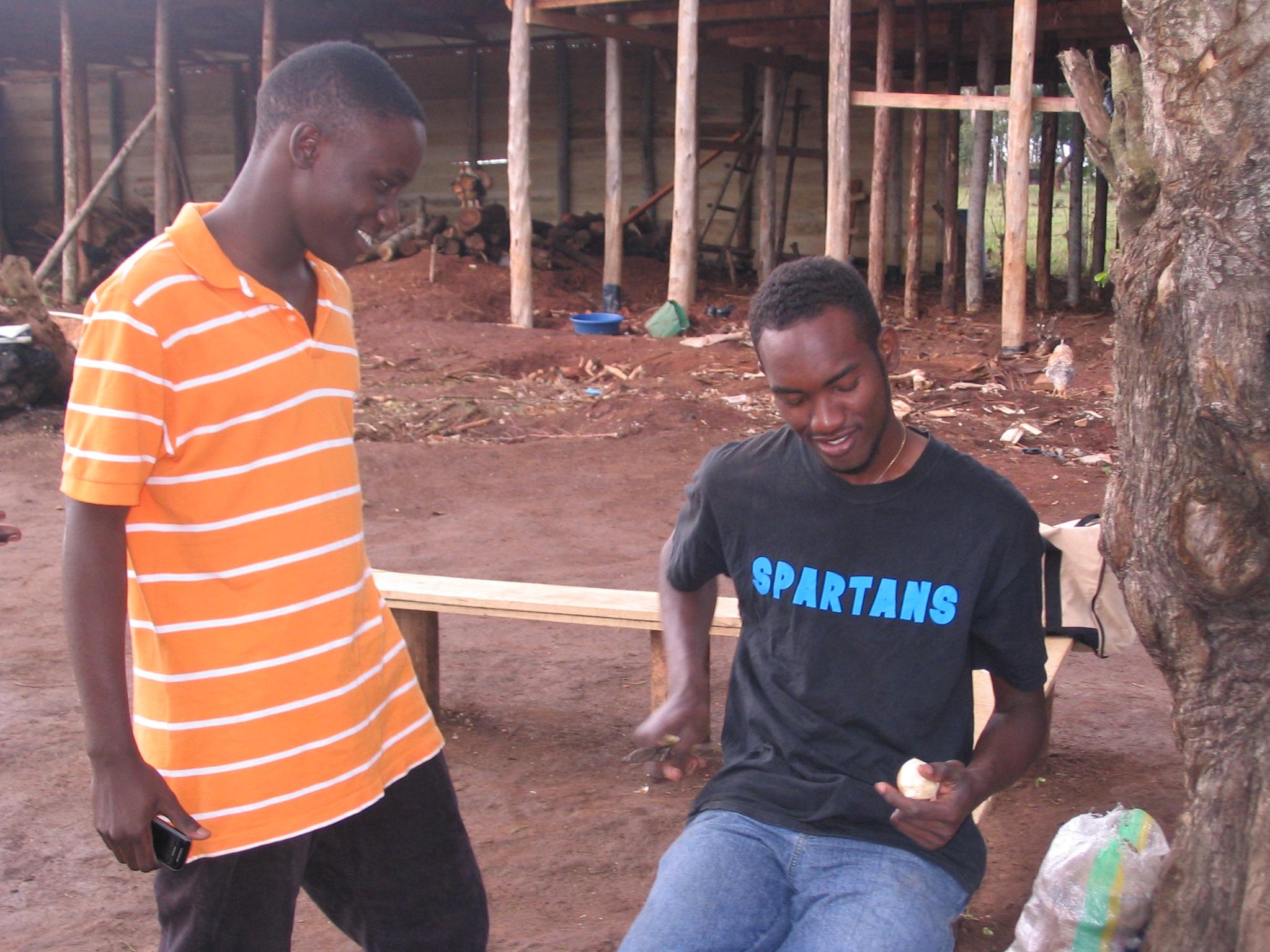 Jonathan and Moses Babu at the farmland