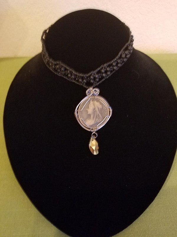 Victorian penny on black beaded choker with champagne crystal