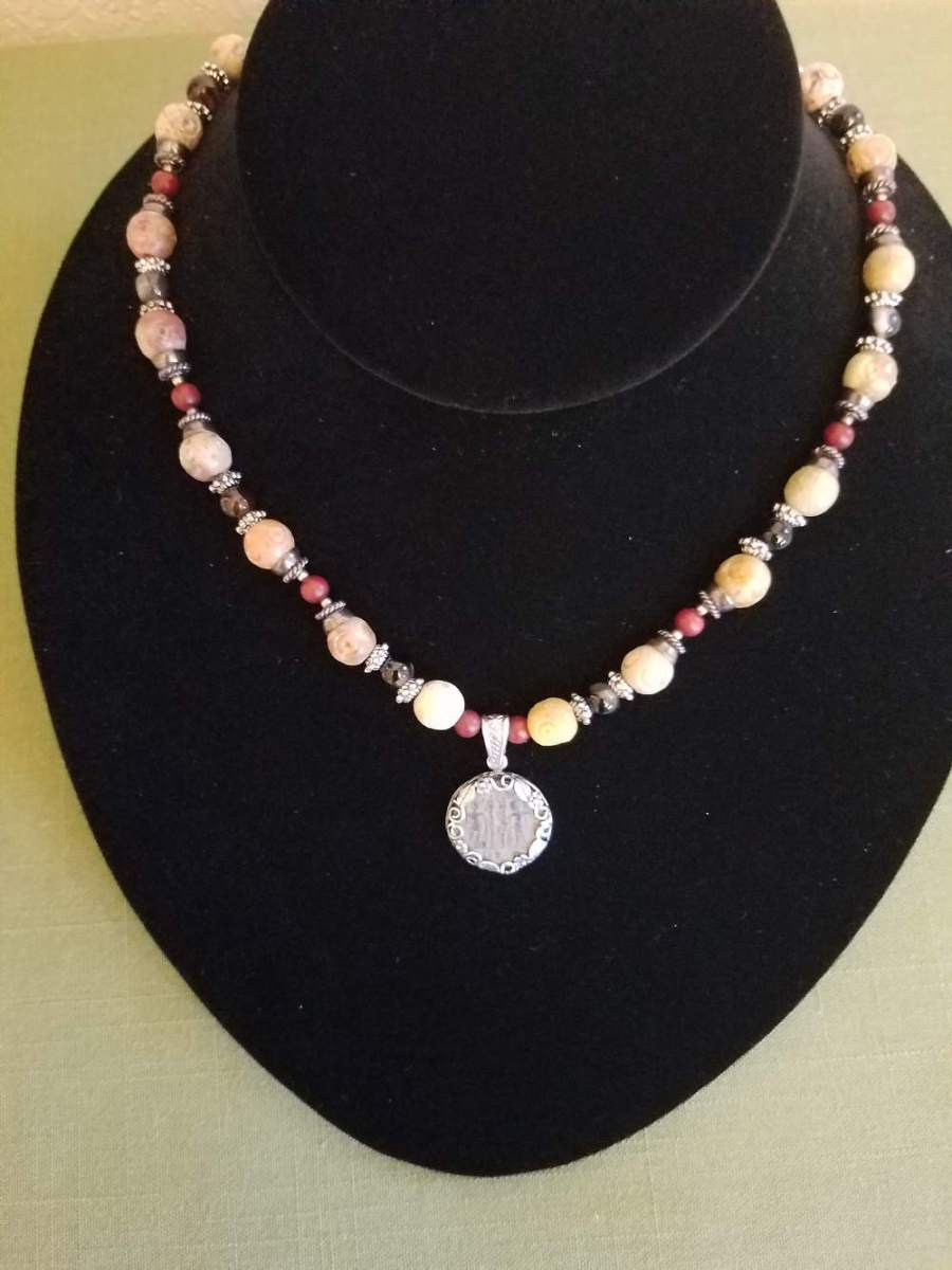 Necklace with Roman coin, silver, and multicolored beads
