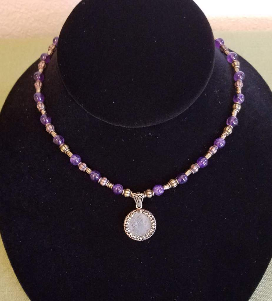 Amethyst and Roman coin necklace