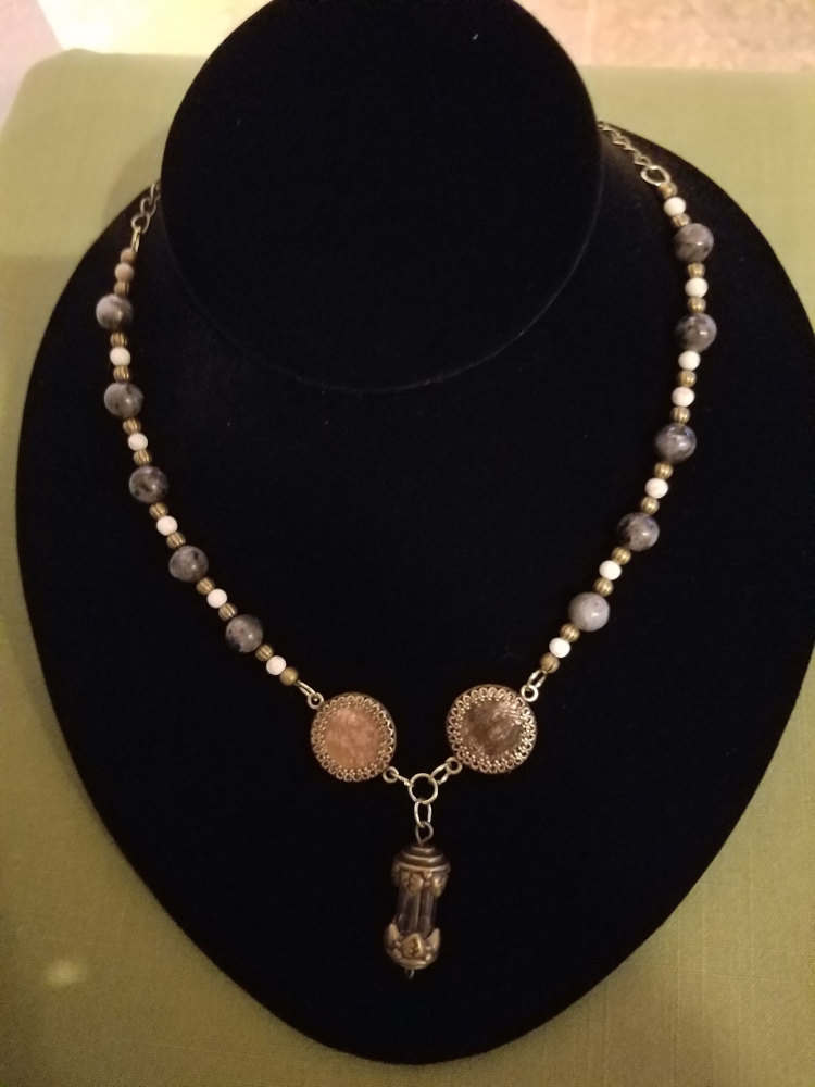 Steampunk necklace with Roman coins and labradorite