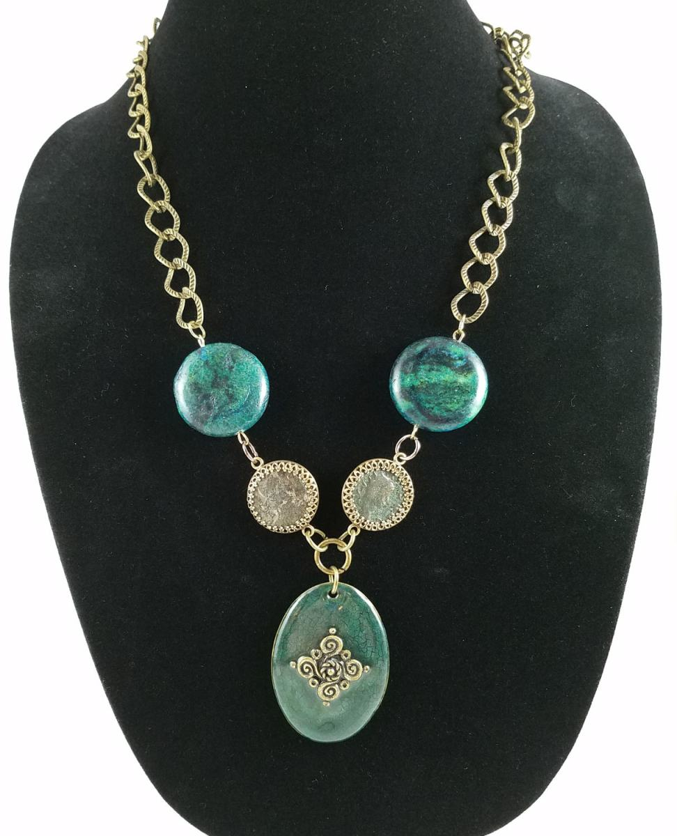 Roman coin necklace with blue green stones