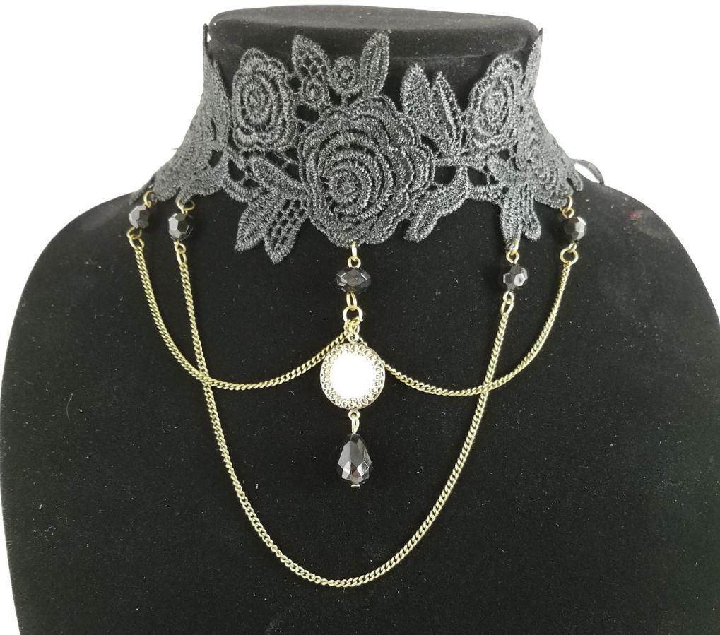 Victorian threepence on lace choker collar