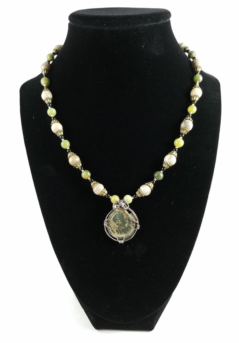 Roman coin necklace with green and beige beads