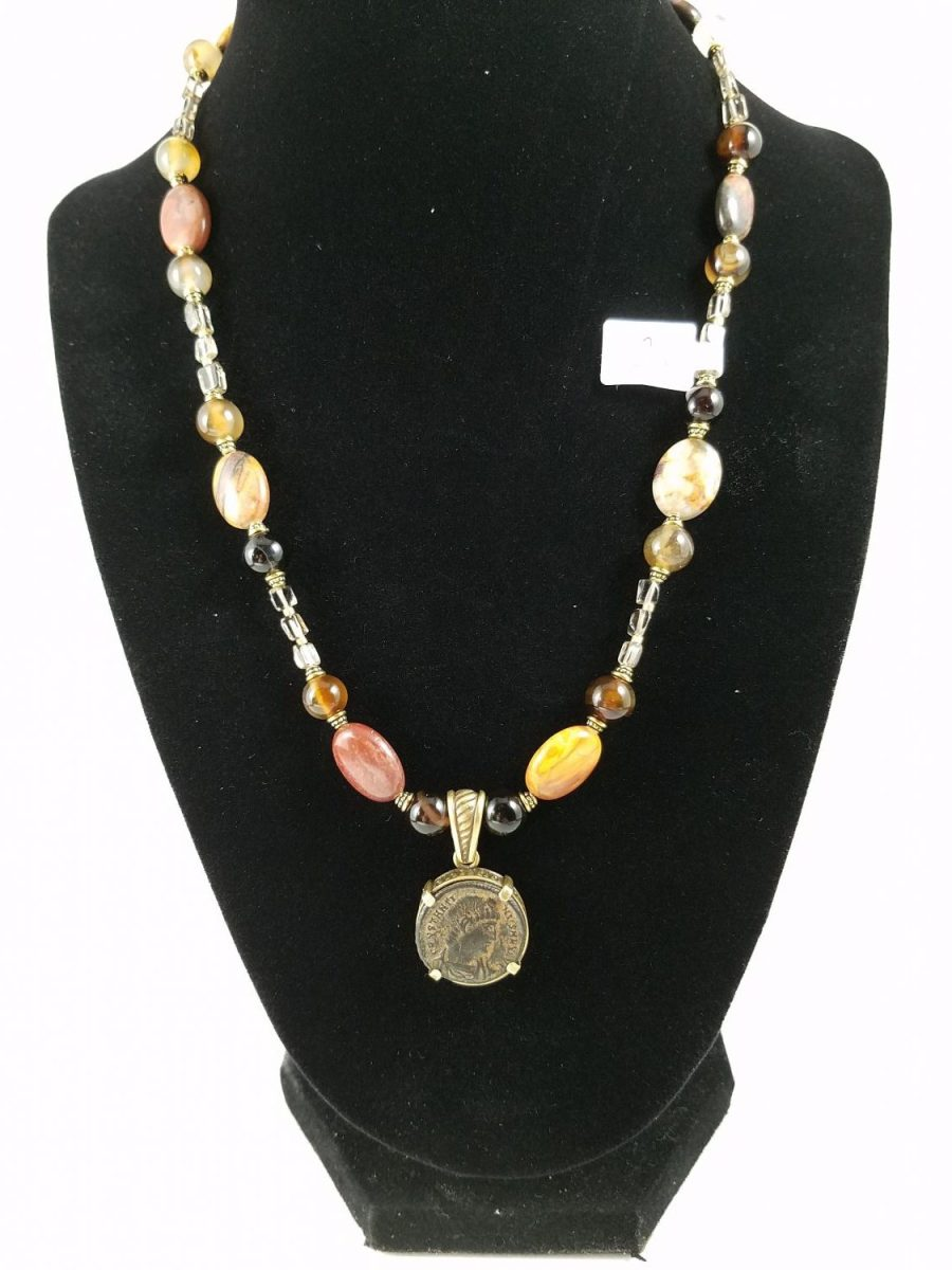 Necklace with Roman coin of constantine with red jasper and black agate
