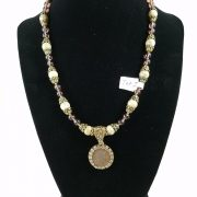 Necklace with Roman coin, jasper and purple glass