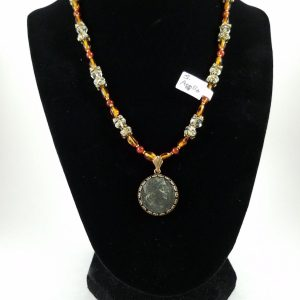 Coin of Apollo with amber and citrine necklace