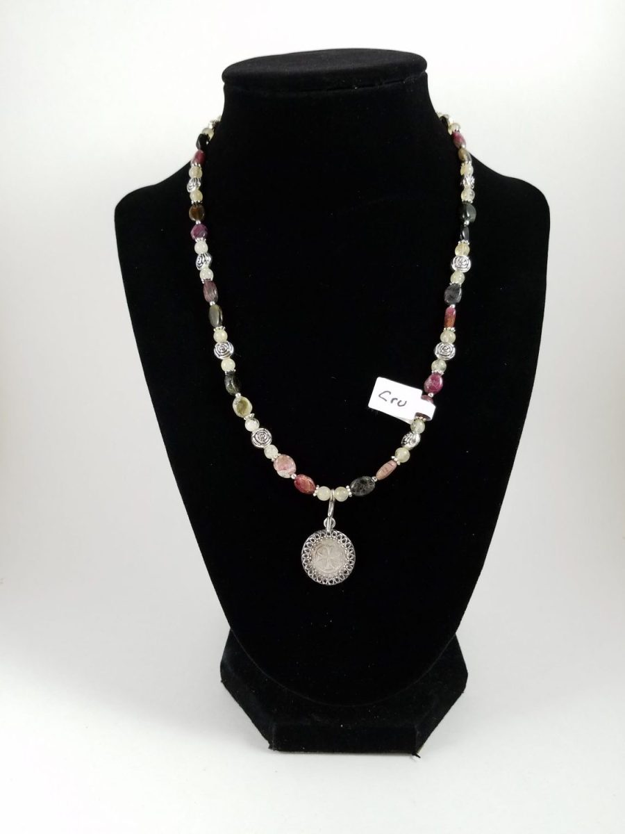 Necklace with Crusader coin and multi-colored beads