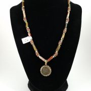 Necklace with constantine coin, red jasper, and roman glass
