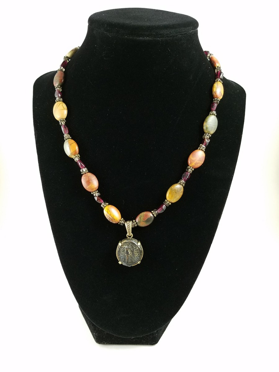 necklace with hellenistic coin and multi-colored jasper beads
