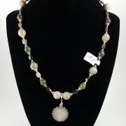 beaded necklace with French Medieval coin
