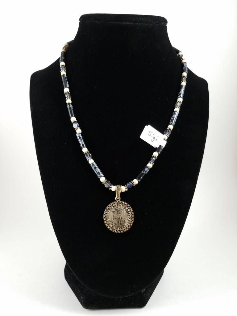 Polish coin and black snowflake obsidianNecklace with p