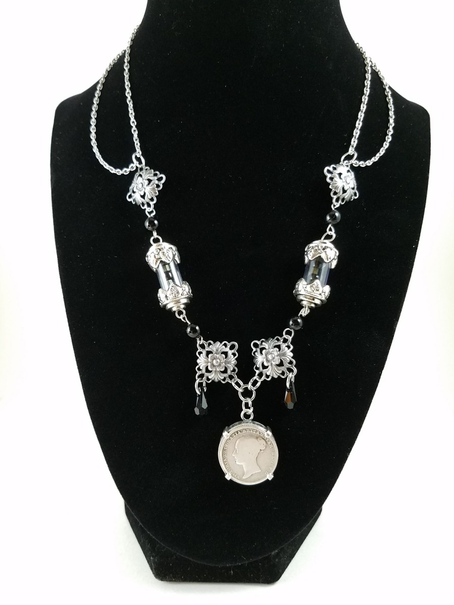 steapunk necklace with Victorian farthing coin