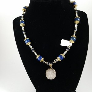 Necklace with Victorian 6 pence and blue lapis lazuli