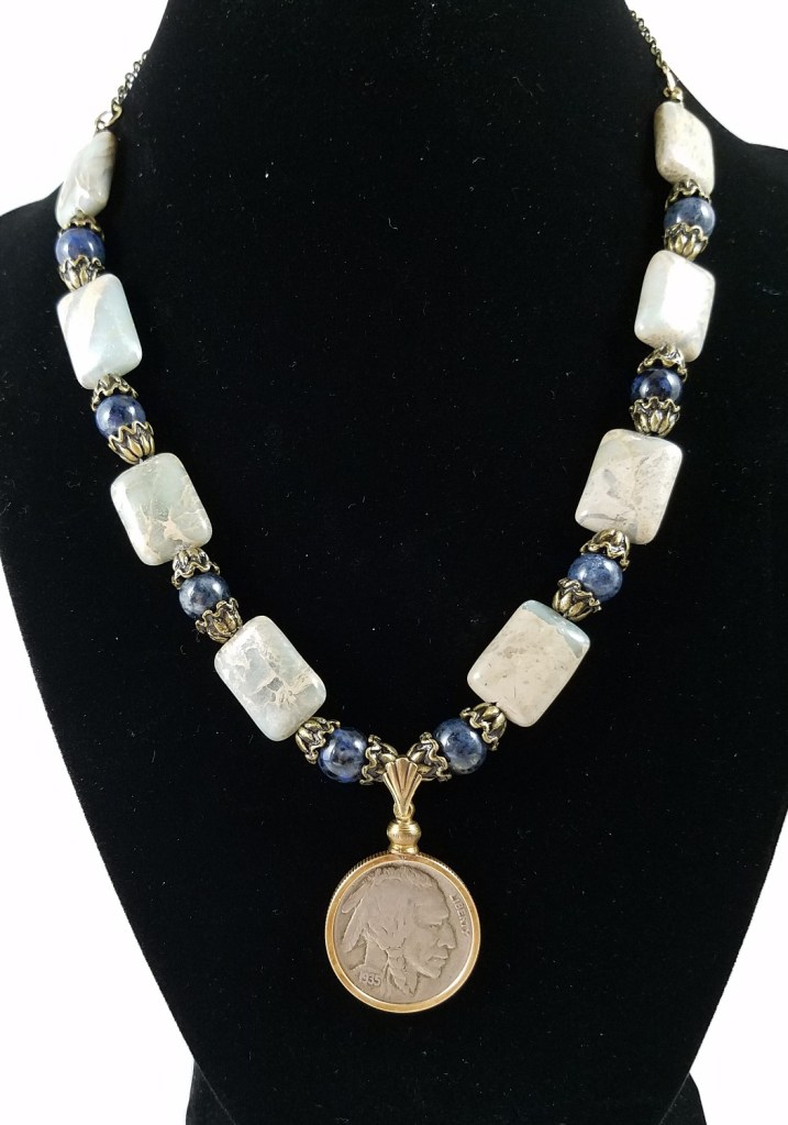 American buffalo nickel with jasper and blue beads