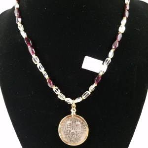 Necklace with Victorian silver shilling with clear citrine and garnet beads