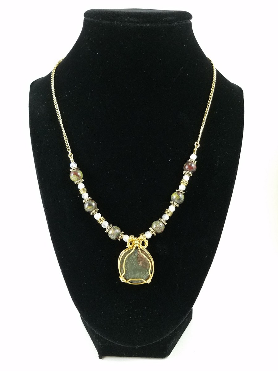 Necklace with wire-wrapped Roman coin with dragon blood jasper and white moonstone