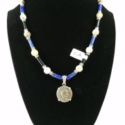 Necklace with Roman denarius coin with blue and black beads
