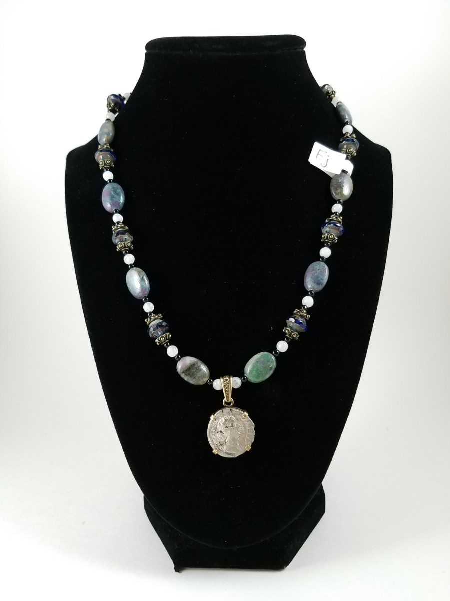 Necklace with Roman silver denarius and kyanite infused with ruby