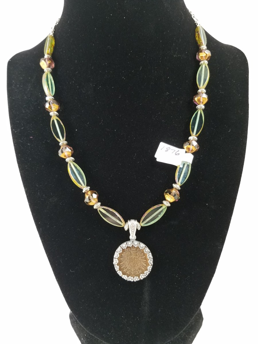 Necklace with german coin and teal and copper beads