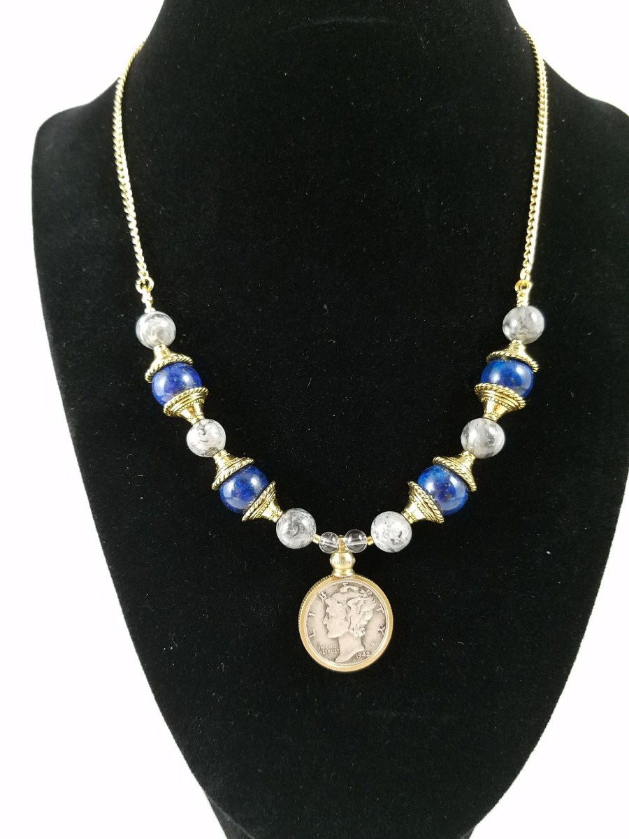 American Mercury silver dime with lapis lazuli beads and gold accents