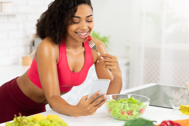 woman staying healthy at home with diet