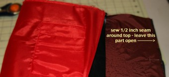 step 20 - put leather part inside the liner, right sides facing, sew around front and up sides of flap - leave top open