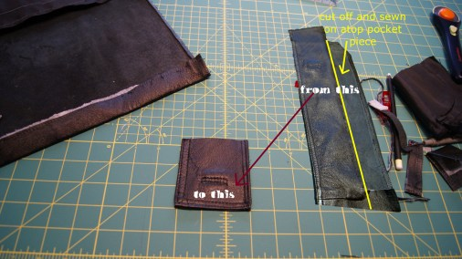 the pocket needed a strip of leather above it