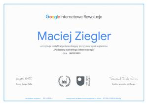 Zdobyłem Certyfikat Google