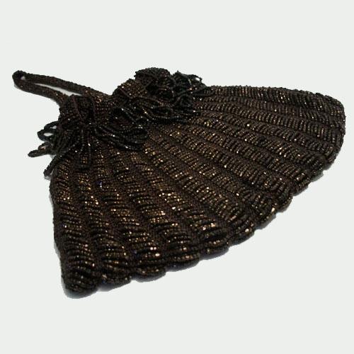 Art Deco brown seed bead drawstring purse-the remix vintage fashion