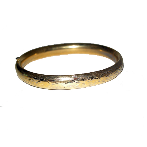 victorian etched gold bangle-the remix vintage fashion